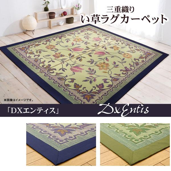 三重織り い草ラグカーペット 『DXエンティス』 2色対応 約191×191cm(裏:不織布)【IK-8136120】