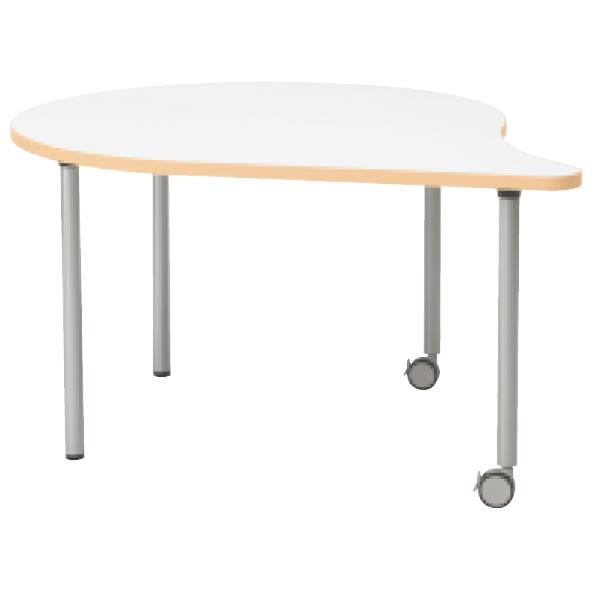 E5シリーズ テーブル ムーン形 片キャスター脚タイプ 幅1200×奥行1057×高さ700・640・580mm【OE-121HM】