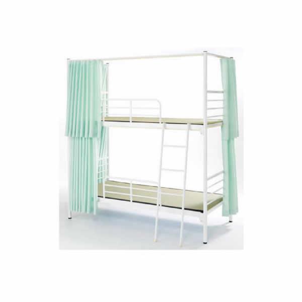 スチール2段ベッド (カーテン付グリーン)【KBS-212CG】