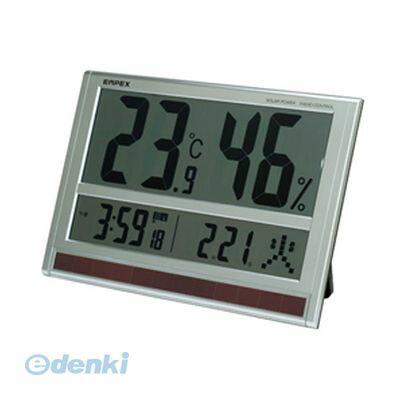 「直送」【代引不可・同梱不可】[TD-8170]  EMPEX ジャンボソーラー温湿度計 電波時計 超大型液晶 太陽電池 室内用 置掛兼用 ソーラー