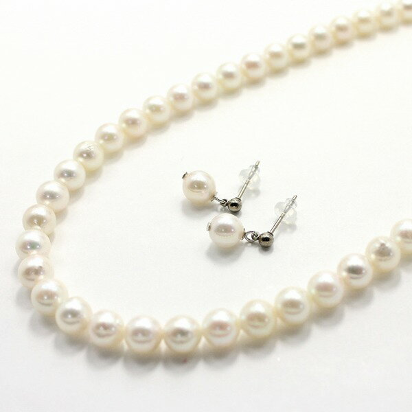 直送・代引不可 アコヤ本真珠 6.5-7.00mm珠 ネックレス&ピアス 別商品の同時注文不可