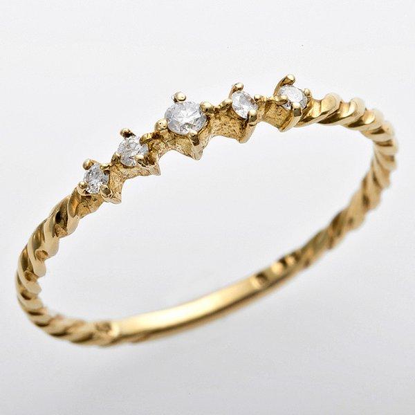 直送・代引不可 K10イエローゴールド 天然ダイヤリング 指輪 ダイヤ0.06ct 8号 アンティーク調 プリンセス 別商品の同時注文不可