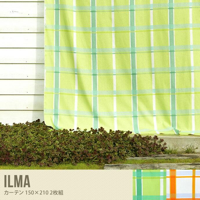 カーテン オーダー 生地 ナチュラル 柄 チェック柄 シンプル 2色 カッコいい グリーン 規則性 リビング かわいい