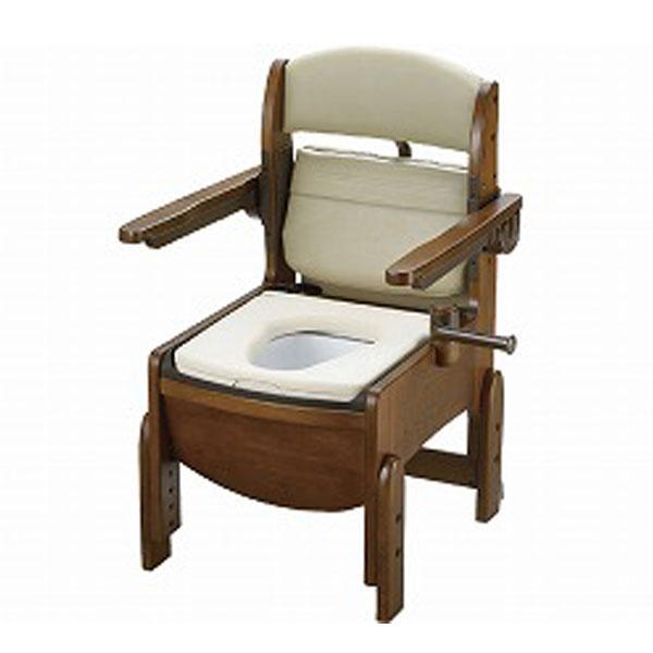派手 木製トイレ きらく コンパクト 肘掛跳ね上げ 18560 やわらか便座 リッチェル (ポータブルトイレ 木製 介護 トイレ 肘付き椅子 コンパクト 便座クッション) 介護用品護用品