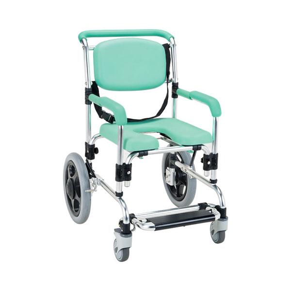 (代引き不可) らくらく浴用キャリー(固定式)パーキングブレーキ付 YC-80GR マキライフテック  (お風呂 椅子 浴用椅子 シャワーキャリー 背付き 介護 椅子) 介護用品