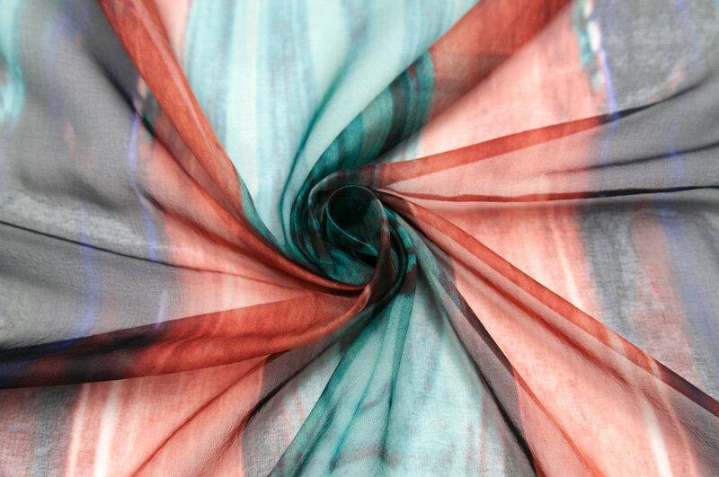 イタリア製【ALBERTA FERRETTI LIMITED EDITION/アルベルタ・フェレッティ リミテッド・エディション】シルク・シフォンピーコック・プリントブラウス着分1パネル1.15m単位 生地・布