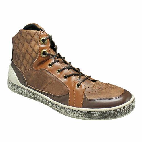 【ABBEY ROAD(アビーロード)】キルティングが印象的なハイカットのレザースニーカー・AB6002(キャメル)/メンズ 靴