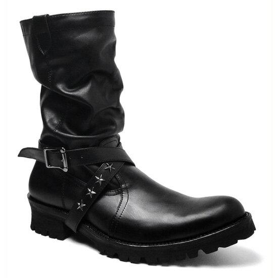 【BOREDOM (ボアダム)】お兄系ドレープクロスベルトブーツ・BD0056(ブラック)【送料無料】/メンズ 靴