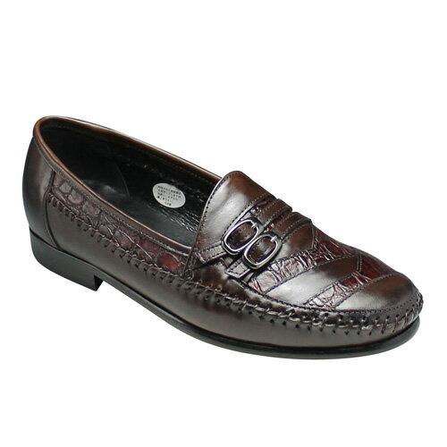 【LUTECIA(ルテシア)】手縫い袋モカシンのクロコ型押しスリップオン(ダブルベルト)・LU411(ダークブラウン)/メンズ 靴