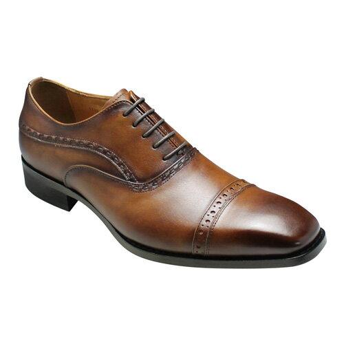 【MODELLO(モデーロ)】日本製のロングノーズビジネスシューズ(メダリオン・ストレートチップ)3E幅広・DM310(ライトブラウン)/メンズ 靴
