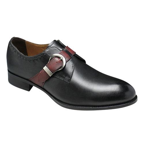 【MODELLO(モデーロ)】ヨーロピアントラッドをシェイプアップした脚長牛革ビジネス(サイドベルト)・DM318(ブラック/ワイン)/メンズ 靴