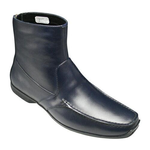 【REGAL(リーガル)】バックファスナーがオシャレなイタリア製カーフスキンのハーフブーツ・51CR(ネイビー)/メンズ 靴