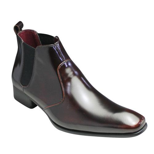 【SARABANDE(サラバンド)】ヨーロピアントラディショナルの牛革サイドゴアブーツ(プレーントゥ)・SB7776(ダークブラウン)/メンズ 靴