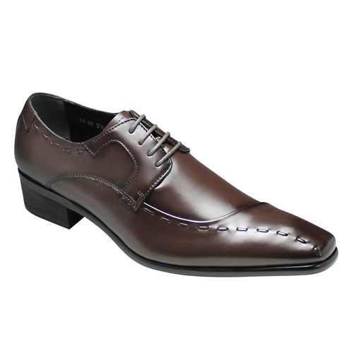 【TRUSSARDI(トラサルディ)】牛革ロングノーズの片流れビジネスシューズ(サイドスワール・レース)3E・TR10251(ダークブラウン)/メンズ 靴
