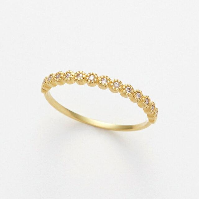 【送料無料】K18 イエローゴールド ダイヤモンド ハーフエタニティ リング【GOODNESS グッドネス】【誕生石 4月】18金 18k 金 ゴールド ダイヤ指輪 エタニティ 華奢 小ぶり シンプル かわいい 重ね付け ギフト プレゼント 女性 大人 レディース