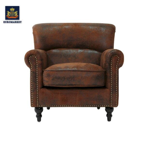 ヴィンセントシリーズ ヴィンテージレザー調ファブリックシングルソファ ソファー アームチェア 椅子 一人掛け 1人掛け ビニールレザー PUレザー 合皮 本革調 アンティーク ヴィンテージ ビンテージ レトロ イギリス 英国 UK VN1P30K