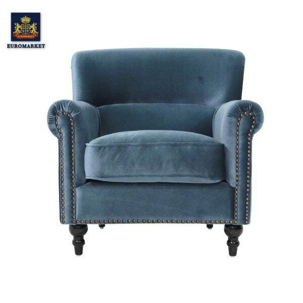 ヴィンセントシリーズ ブルーベルベットコンパクトシングルソファ ソファー アームチェア 椅子 一人掛け 1人掛け ファブリック 布地 高級 アンティーク ヴィンテージ ビンテージ レトロ イギリス 英国 UK VN1F92K