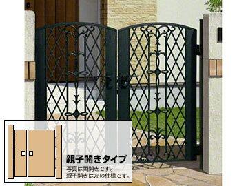 三協アルミ キャスモア6型 両開き親子 ゲート・門扉【現場打ち合わせ無料・全国工事対応】