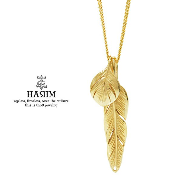 HARIM ハリム HRP104 GP Slender feathers Very shine/GPGOLD ゴールド フェザー ネックレス ネイティブ 羽根