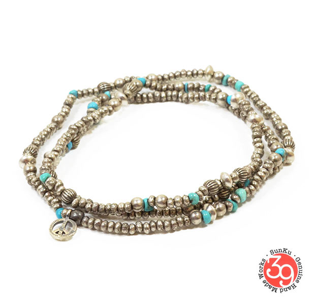 Sunku/39/サンクSK-084 Silver & Turquoise Beads Long Necklace W/Peaceネックレス/ブレスレット/アンクレットSilver925/シルバーBRASS/真鍮アンティーク・ターコイズ/Turquoiseアクセサリー