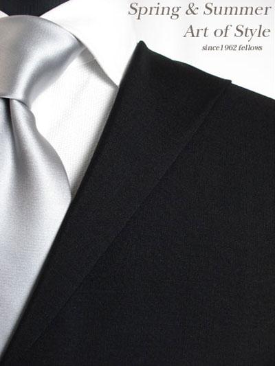 【ブラックスーツ】ブラック無地のオーダーフォーマルスーツ(春夏用 ウール70% モヘア30% 英国製)【RCP】