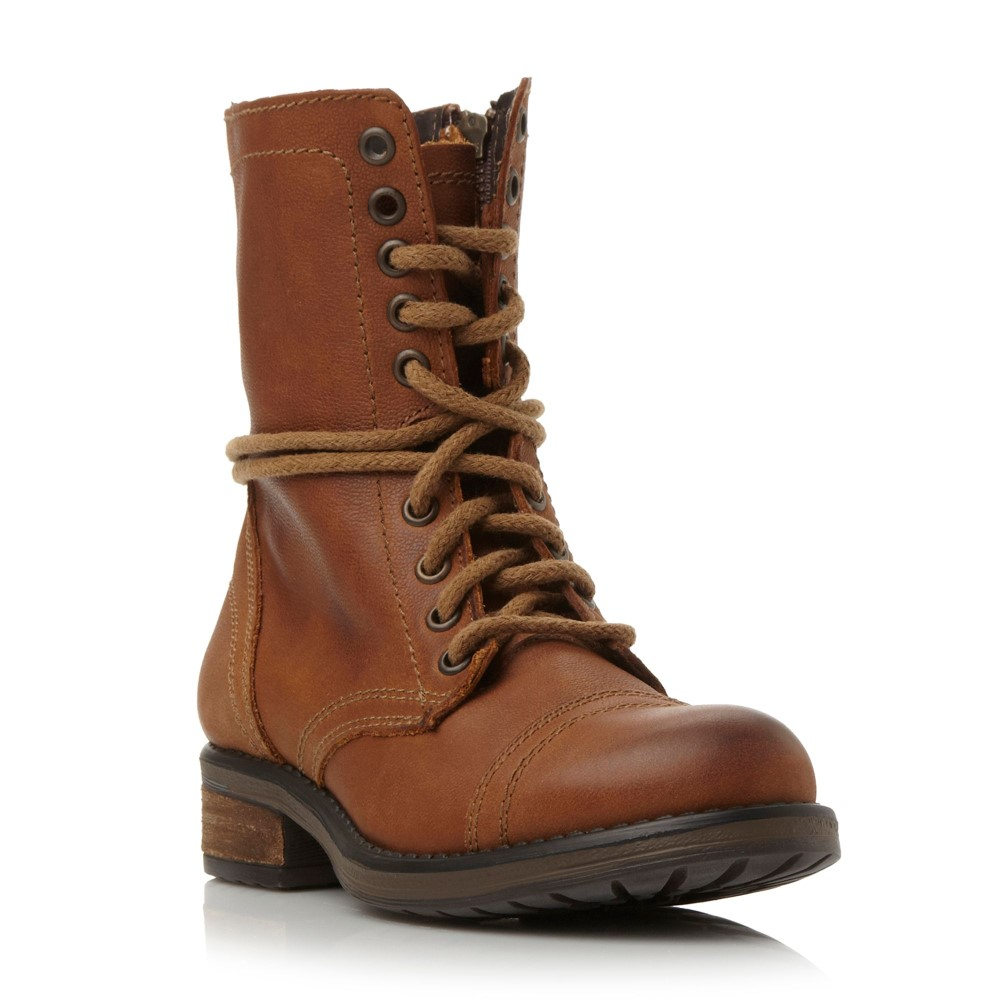 スティーブ マデン レディース シューズ・靴 ブーツ【Troopa 2.0 Sm Leather Lace Up Calf Boot】tan