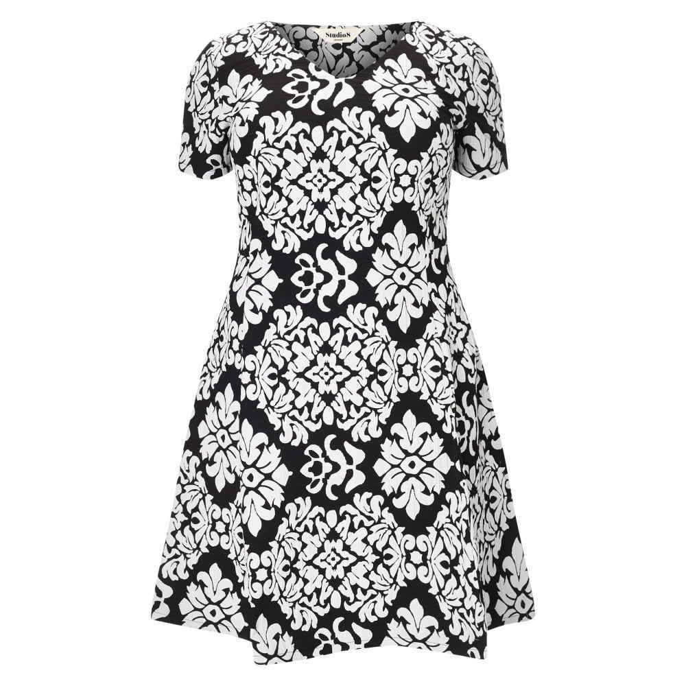 スタジオ8 レディース ワンピース・ドレス ワンピース�Anna Contrast Jacquard Dress】black/white