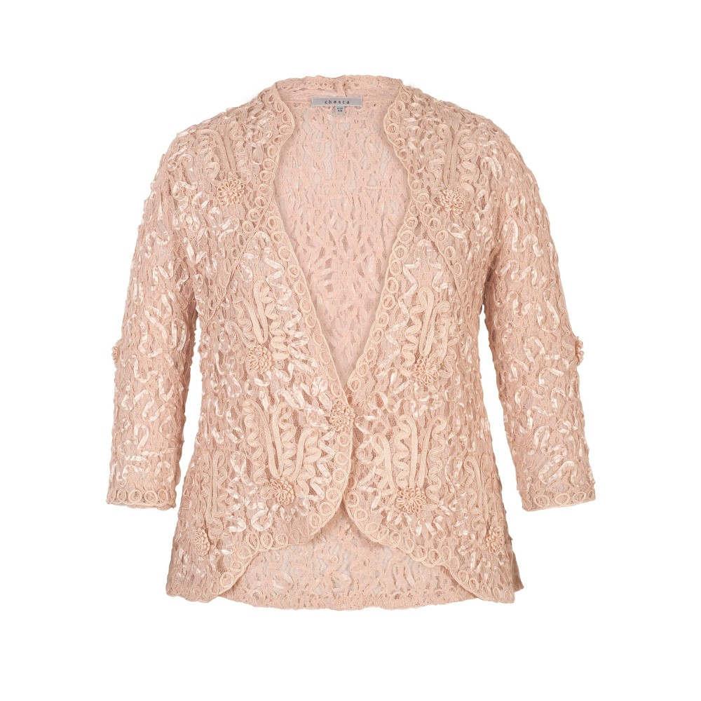 チェスカ レディース アウター ジャケット【Lace Jacket With Cornelli Trim】champagne
