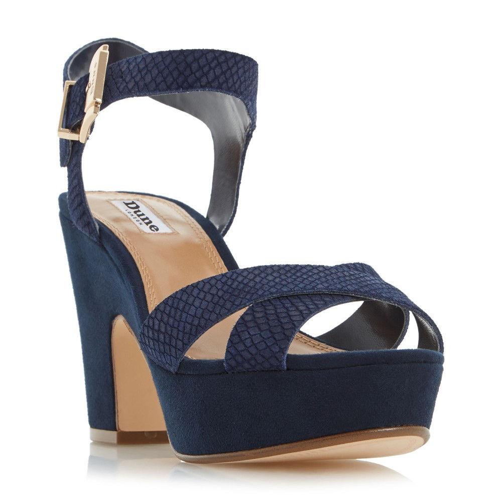 デューン レディース シューズ・靴 サンダル・ミュール【Iyla Cross Vamp Block Heel Sandals】navy