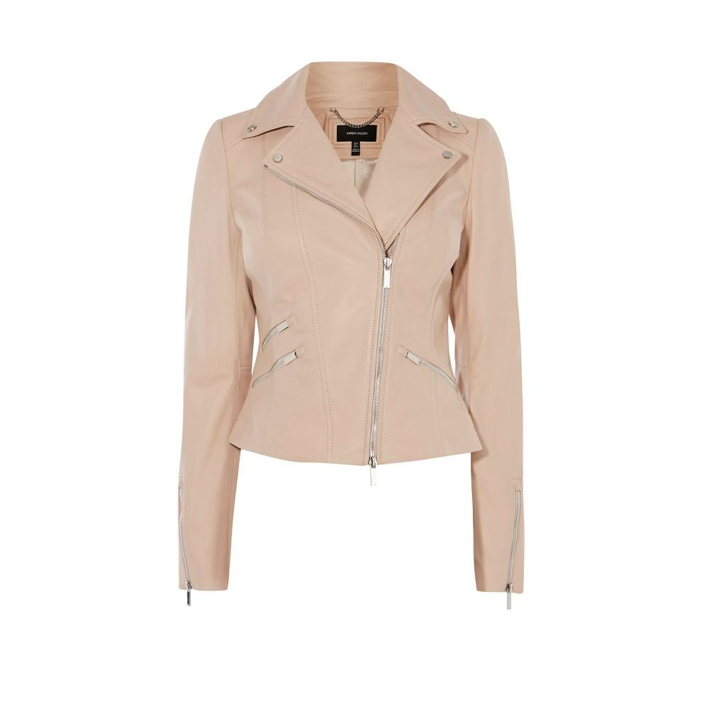 カレンミレン レディース アウター レザージャケット【Leather Biker Jacket】pastel pink