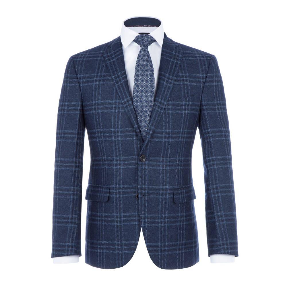 Baumler メンズ アウター スーツ・ジャケット【Vinzenz Wool Slim-fit Checked Jacket】navy