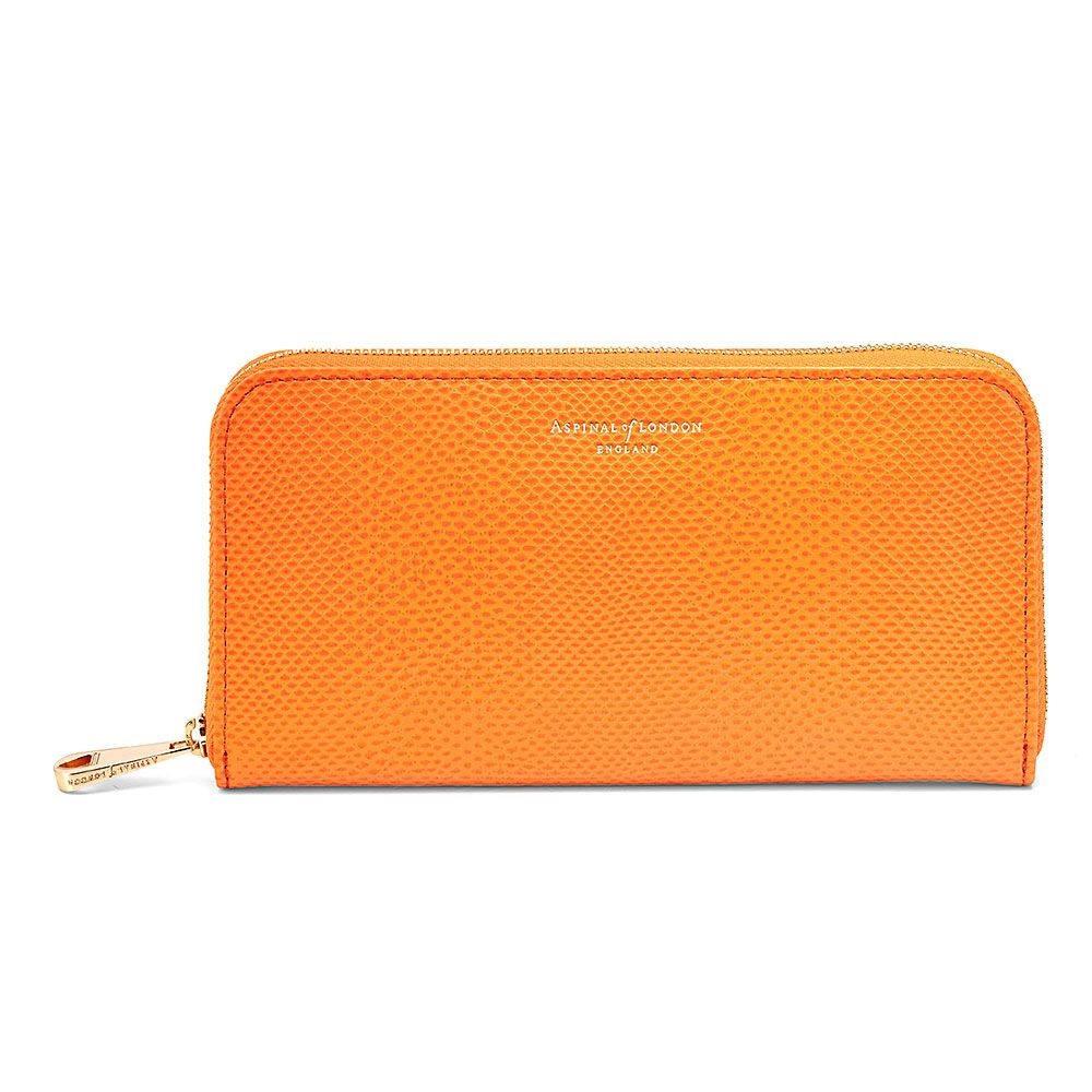 アスピナル オブ ロンドン レディース 財布【Continental Zip Around Wallet】orange