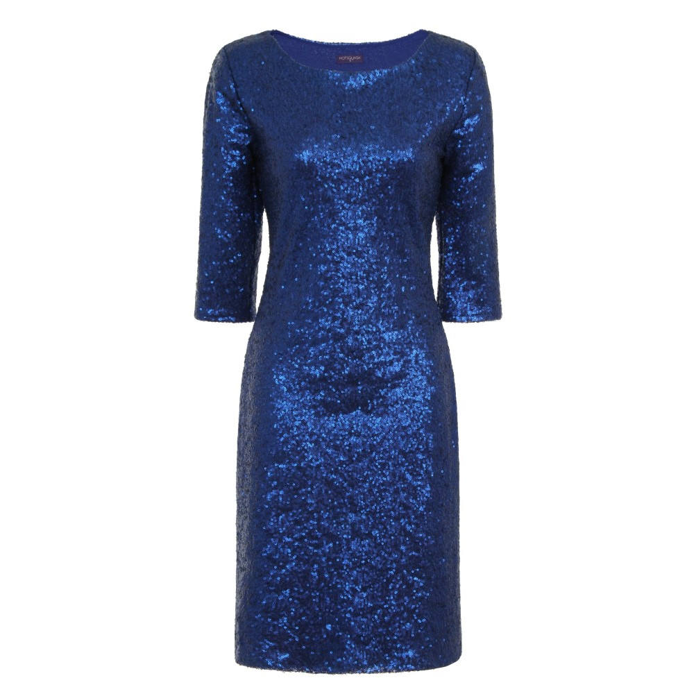 ホットスカッシュ レディース ワンピース・ドレス パーティードレス【Long Sleeved Dress With Sequin Trim】bright blue