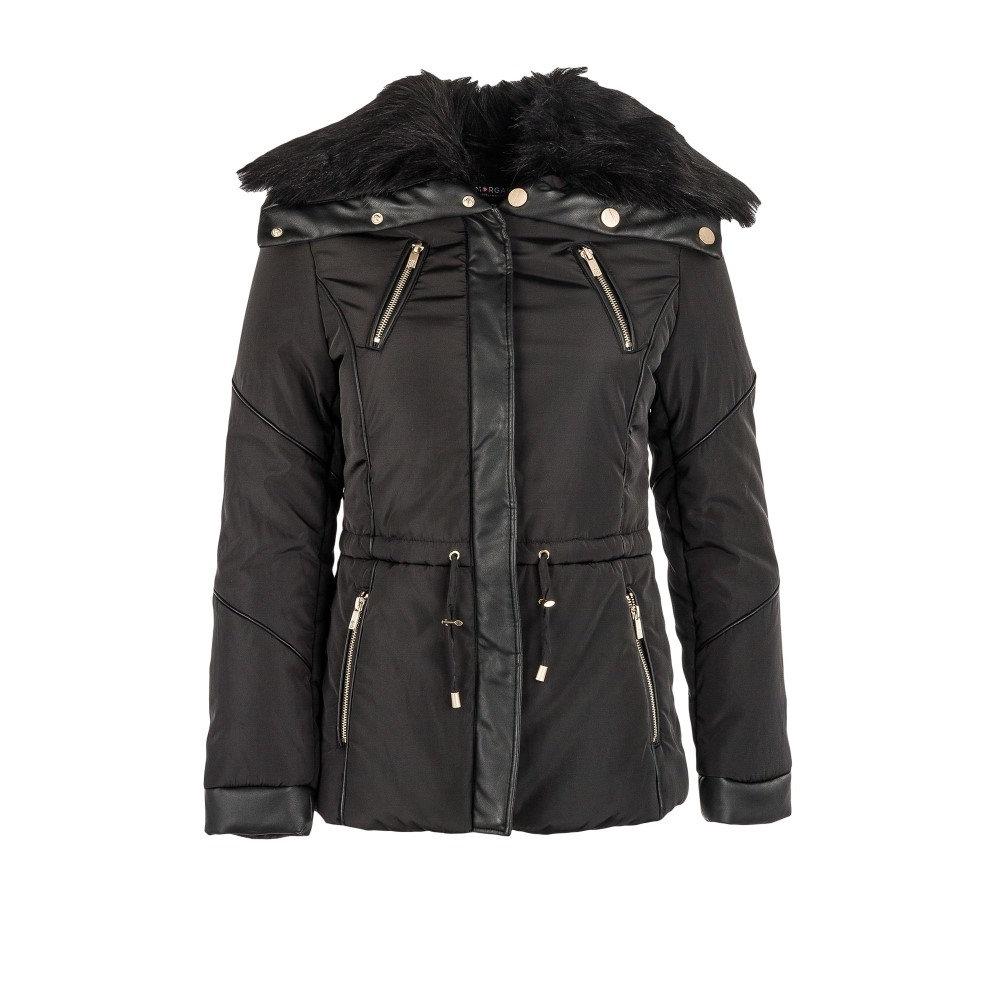 モーガン レーン レディース アウター ジャケット【Furry-collar Quilted Jacket】black