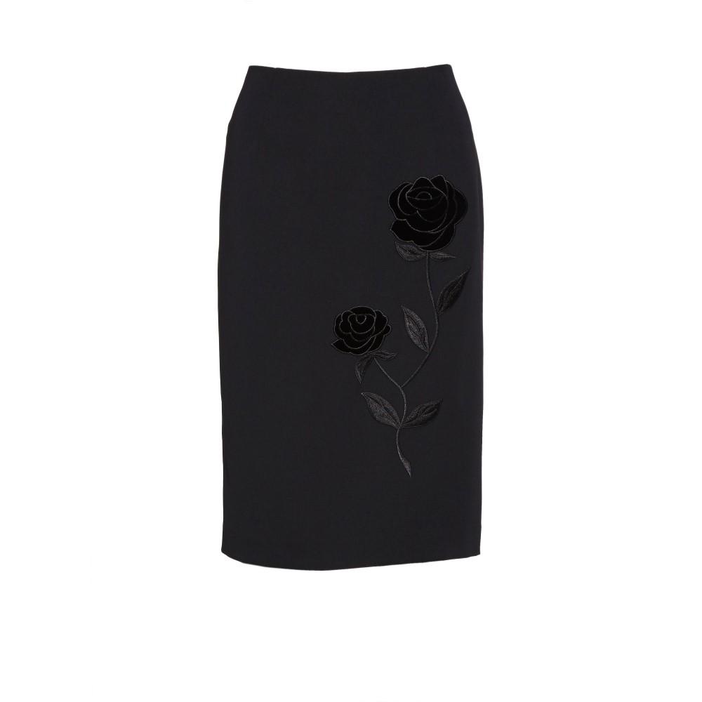 ジーナ バッコーニ レディース スカート ひざ丈スカート【Moss Crepe Skirt With Rose Embroidery】black