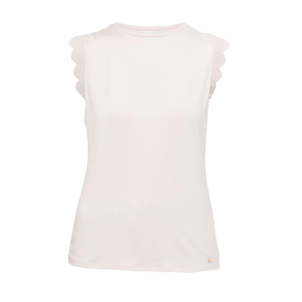 テッドベーカー レディース トップス Tシャツ【Elliah Scallop Detail Fitted T-shirt】pastel pink