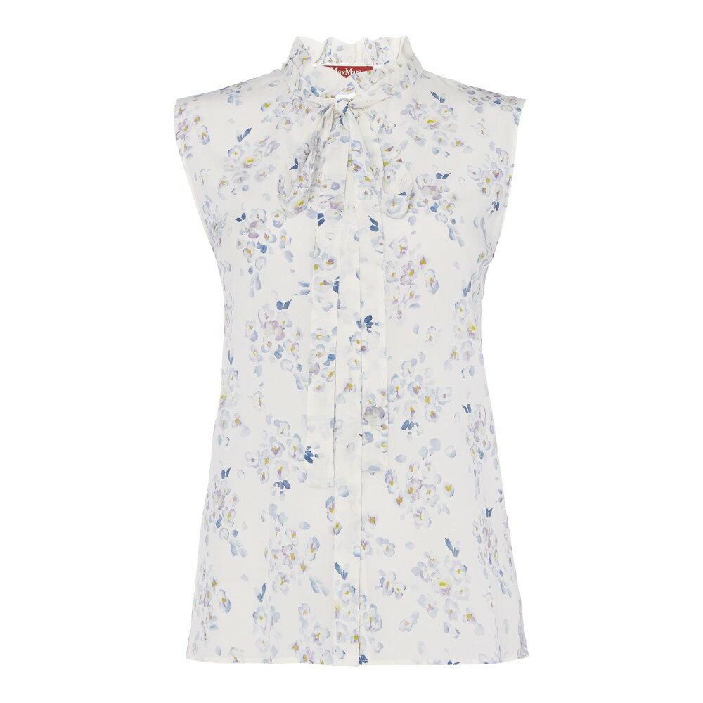 マックスマーラ レディース トップス ブラウス・シャツ【Schio Floral Sleeveless Tie Neck Blouse】white