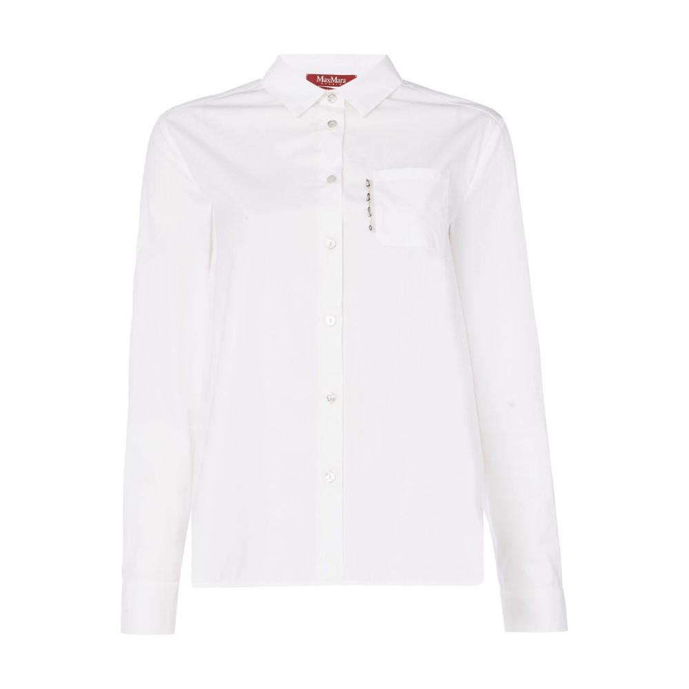 マックスマーラ レディース トップス ブラウス・シャツ【Filmato Longsleeve Button Front Shirt】white