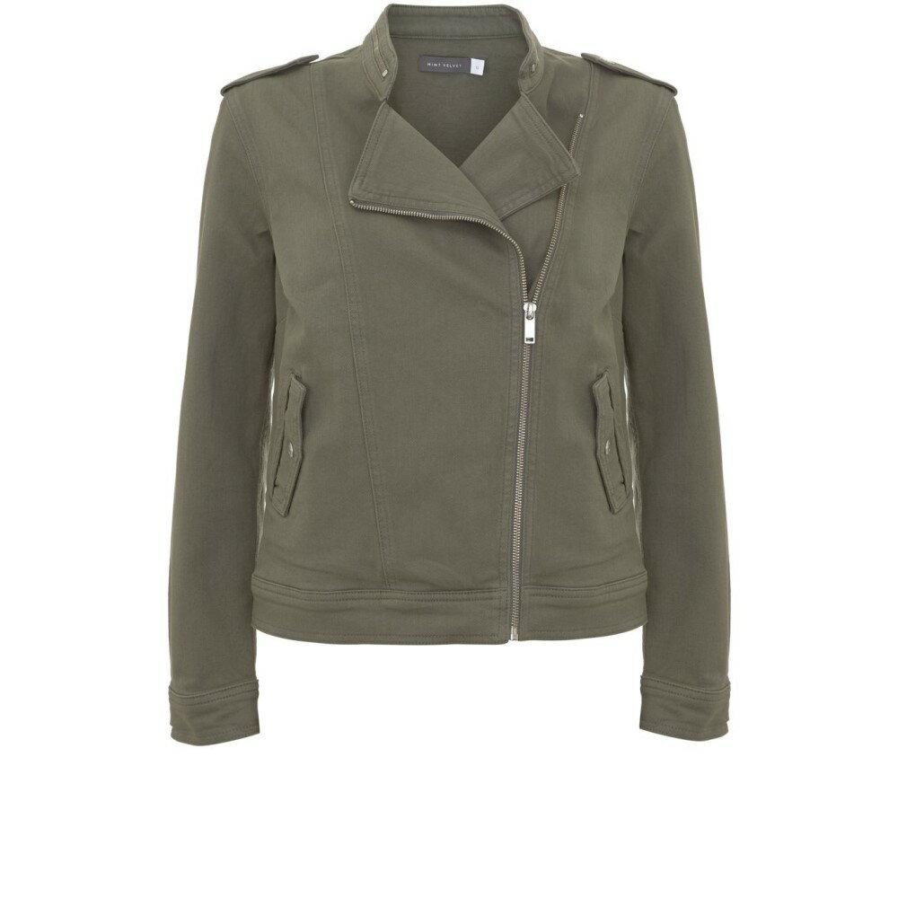 ミルトン ベルベット レディース アウター ジャケット【Khaki Denim Military Jacket】green