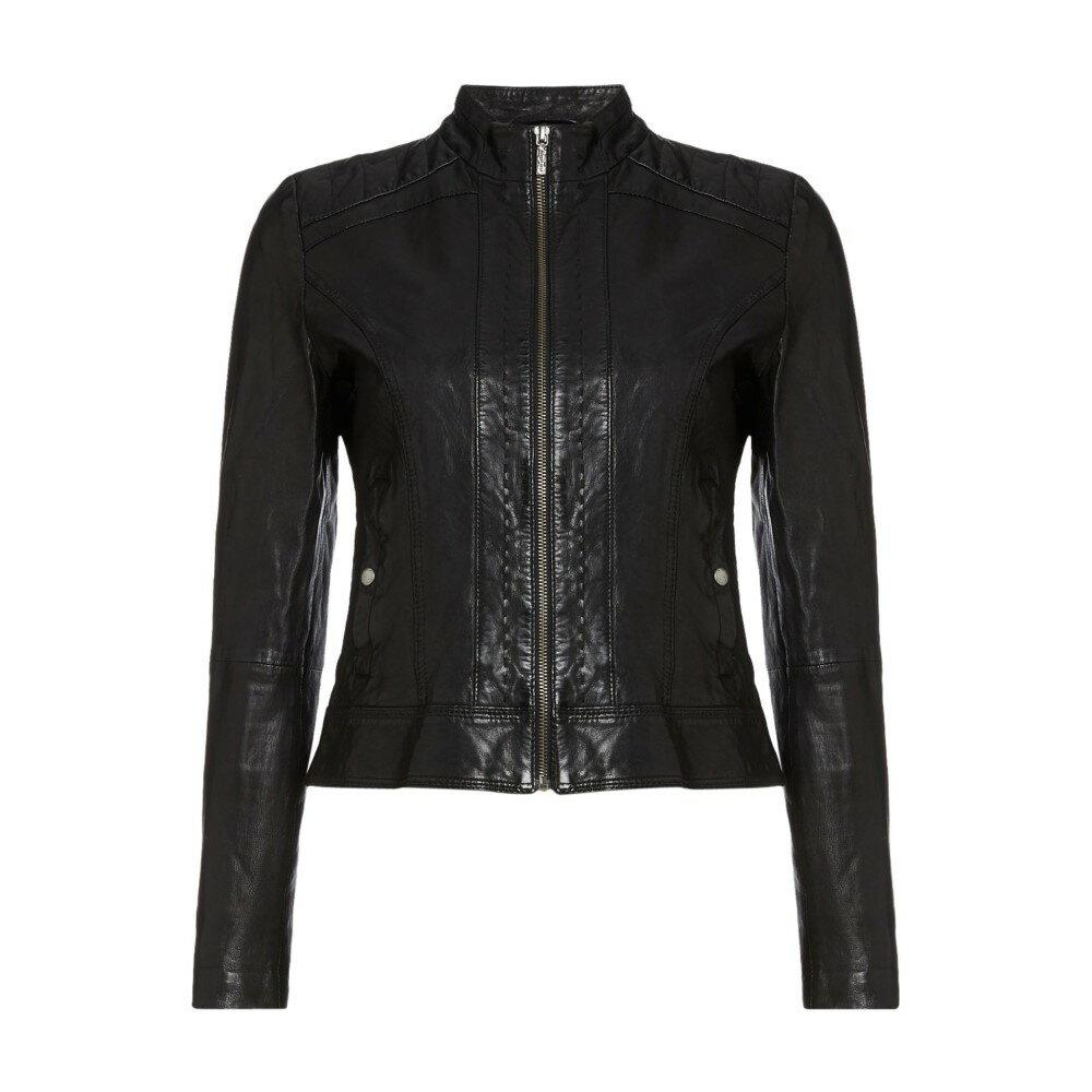 ヒューゴ ボス レディース アウター レザージャケット【Janabelle Long Sleeve Leather Jacket】black