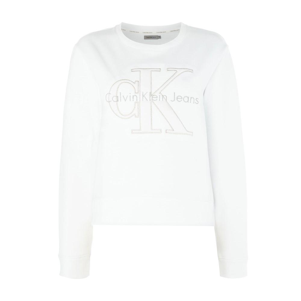 カルバンクライン レディース トップス スウェット・トレーナー【Harper Long Sleeve Sweatshirt With Metallic Logo】white