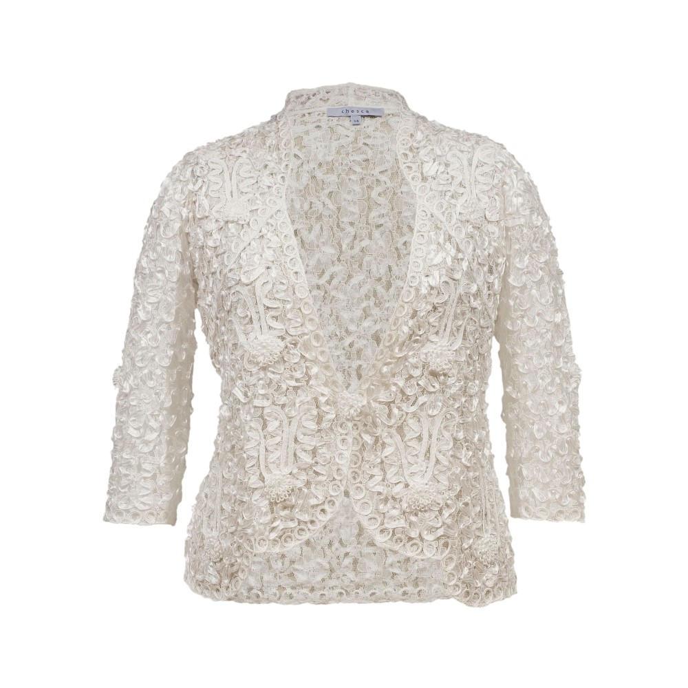 チェスカ レディース アウター ジャケット【Lace Jacket With Cornelli Trim】ivory