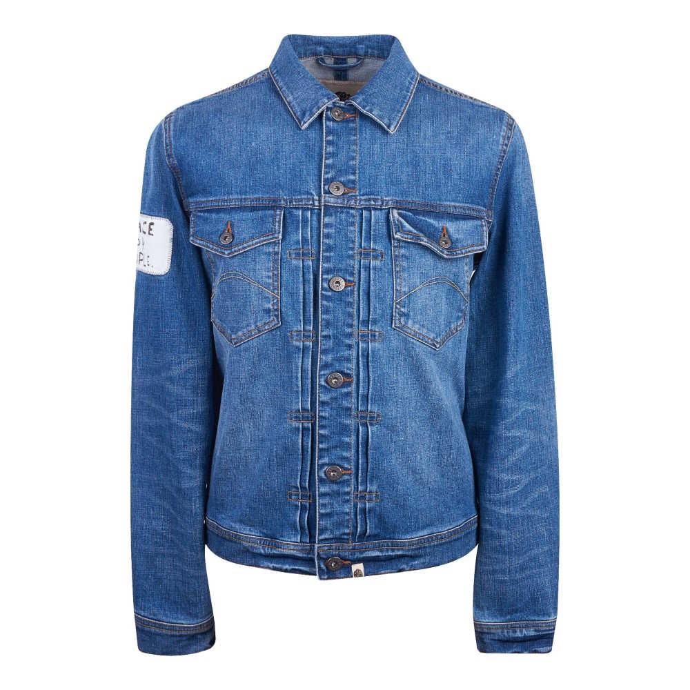 プリティー グリーン メンズ アウター ジャケット【Button Up Denim Jacket】blue
