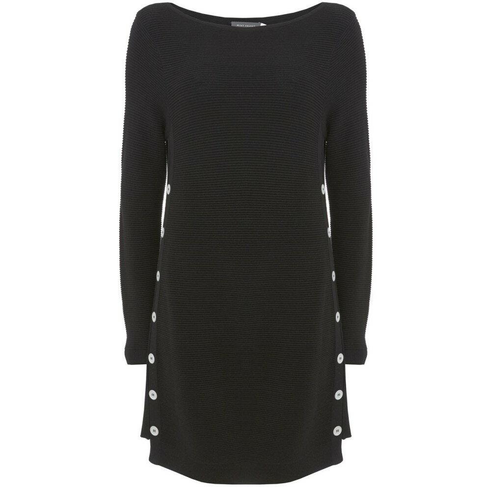 ミルトン ベルベット レディース ワンピース・ドレス ワンピース【Button Side Ottoman Tunic Knit】black