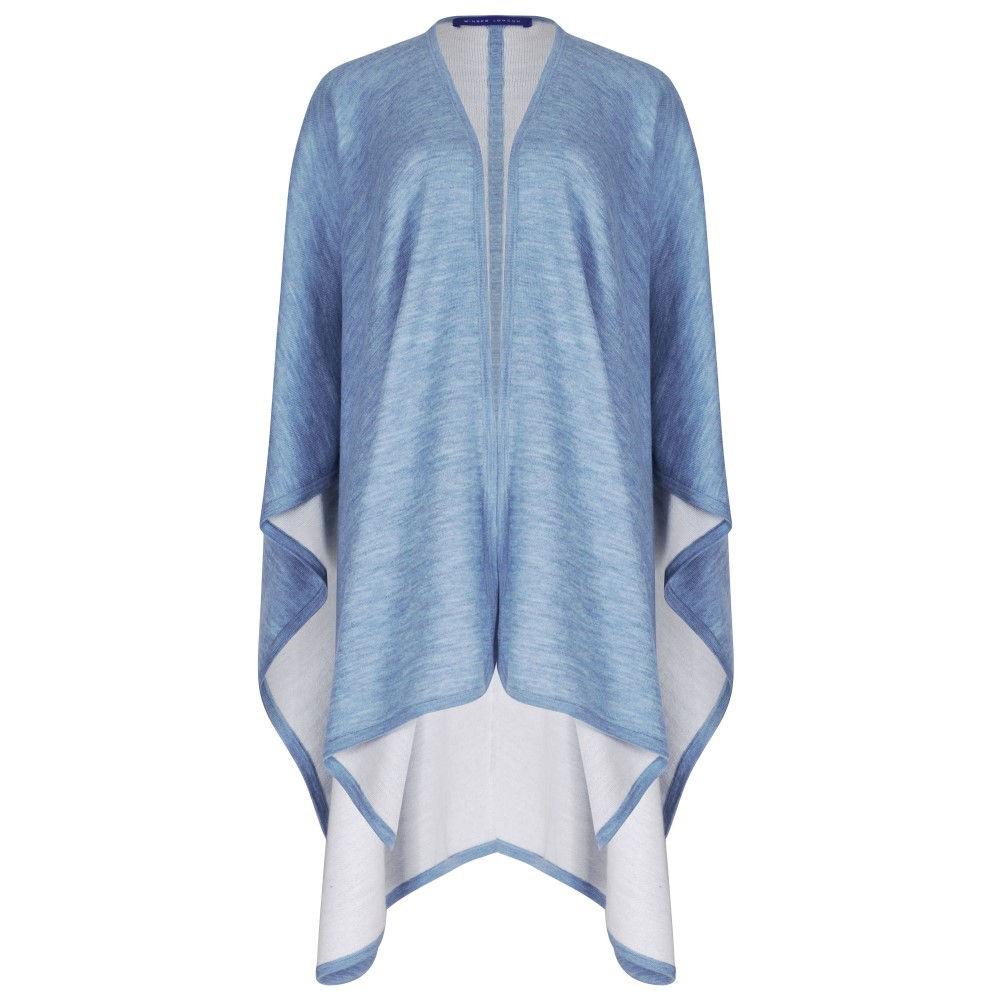 ウィンザー ロンドン レディース アウター ポンチョ【Merino Wool Reversible Poncho】blue