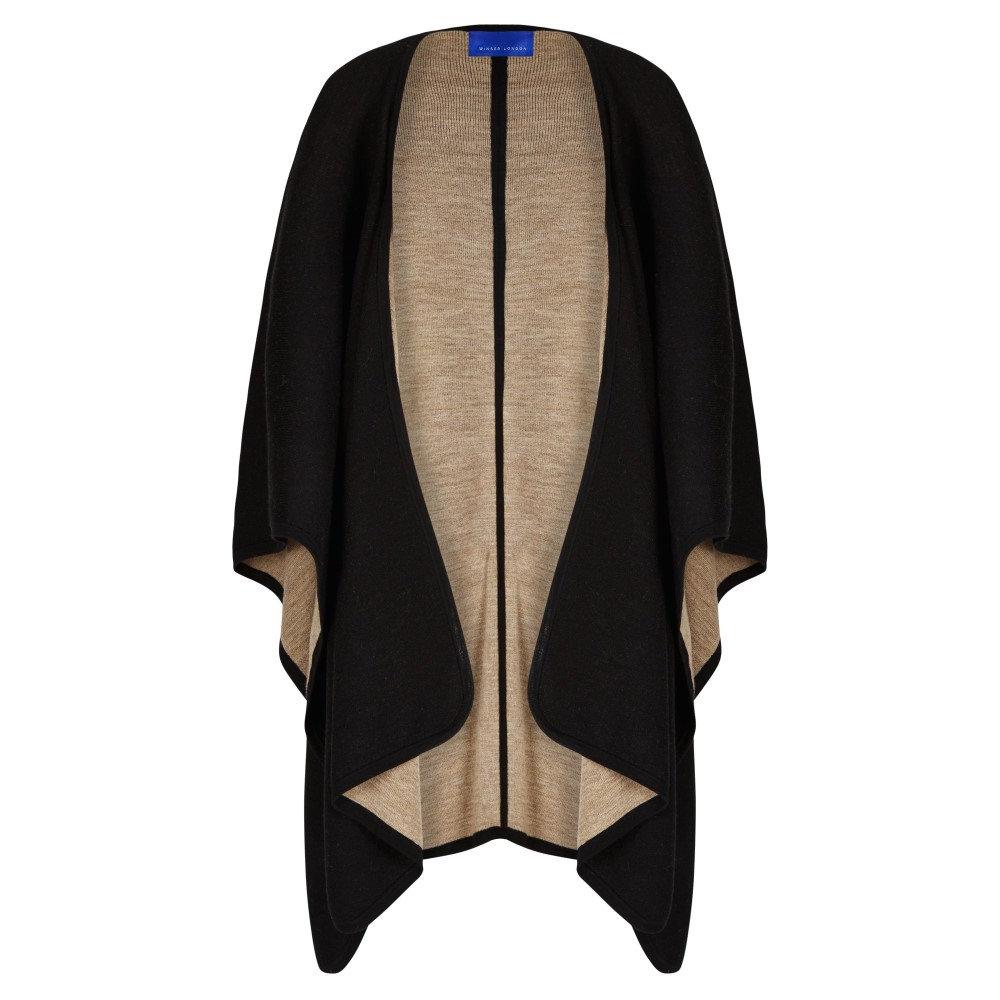 ウィンザー ロンドン レディース アウター ポンチョ【Merino Wool Reversible Poncho】black