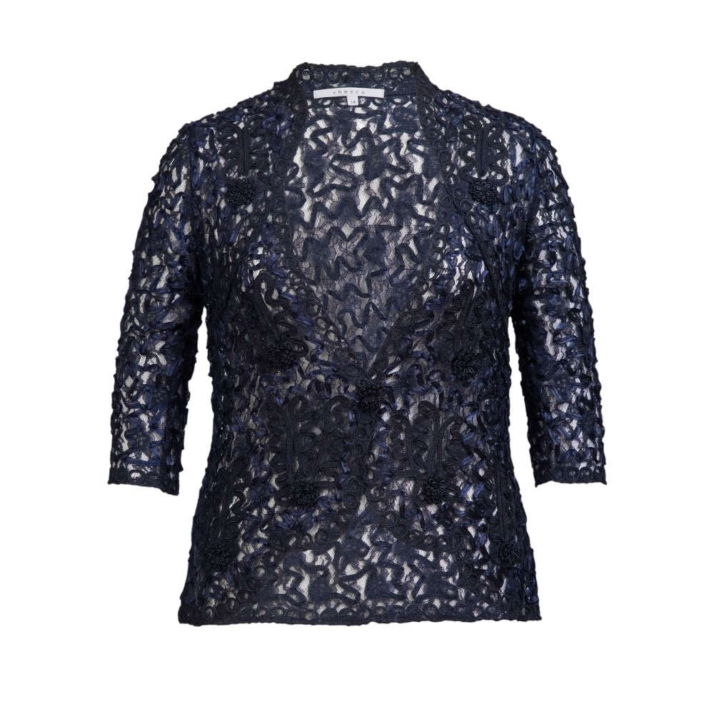 チェスカ レディース アウター ジャケット【Cornelli Trimmed Lace Jacket】navy