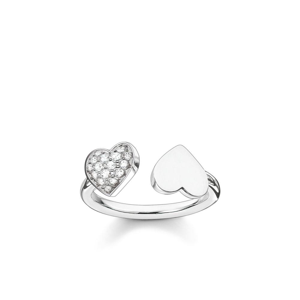トーマスサボ レディース ジュエリー・アクセサリー 指輪・リング【Classic Silver Open Double Heart Ring】white