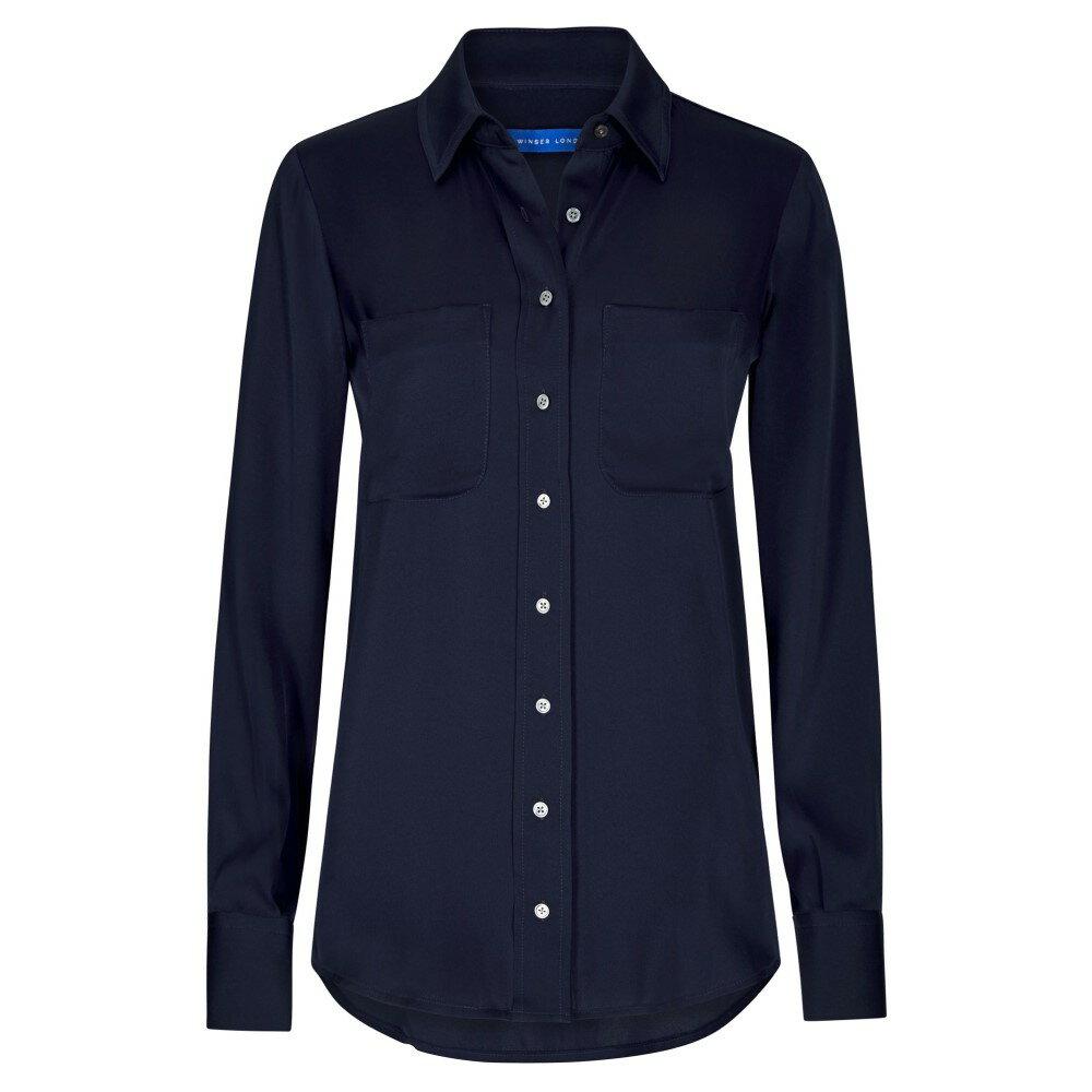 ウィンザー ロンドン レディース トップス ブラウス・シャツ【Silk Shirt】navy