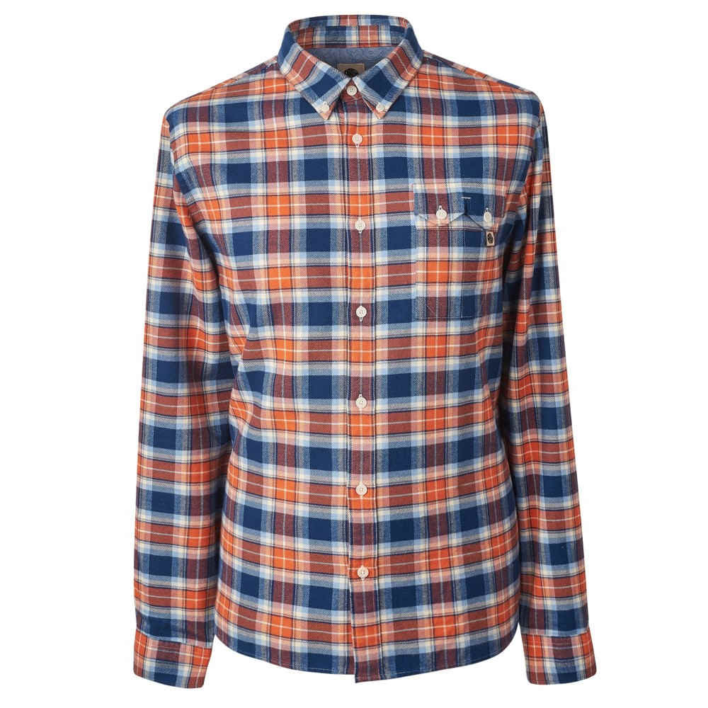 プリティー グリーン メンズ トップス シャツ【Slim Fit Check Shirt】orange